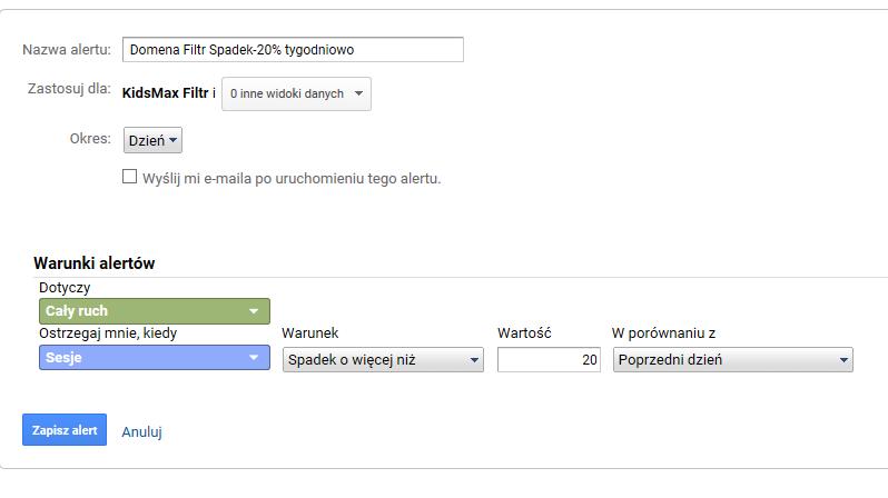 alert filtru Google Analytics